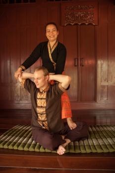 Somwang my Thai Massage teacher with Jason (my partner)