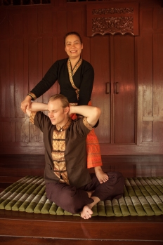 Somwang my Thai Massage teacher with Jason (my partner)